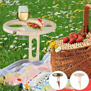 Outdoor Wine Table Collapsible Rack Foldable Wooden Picnic Desk Glass Holder Boo
