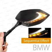 Sequential Dual Led Mirror Black Housing M10 1.5p Adapter Fits Bmw R 1200gs