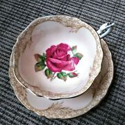 Super Rare Paragon Lovely Lace Border Floating Red Cabbage Rose Teacup And Saucer
