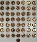 50 1c Full Bu Mixed Roll Lincoln Wheat Cents, 195710 And 1957-d40
