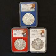 New 2021 American Eagle Silver Coin Ngc Ms70 3 Playing Card Labels