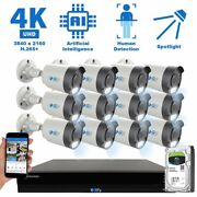 16 Channel 4k Nvr 12 8mp Ai Spotlight Microphone Poe Ip Security Camera System