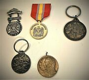 An Assortment Of 5 Medallions Ribbons Pinbacks And Badges-military And Civilian