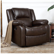 Leather Rocker Recliner Living Room Chair Reclining Chair Leather Brown Java New