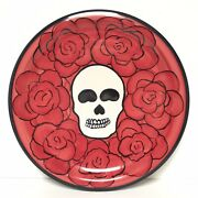 Hf Coors Skull Roses Dinner Plate Day Of The Dead Hand Painted Gothic Red Black