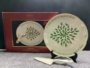 Lenox American By Design Holiday Cake Plate Holly Berries With Server 2 Piece