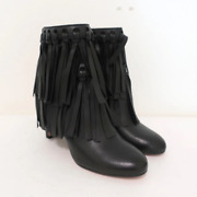 Jimmy Choo Fringe Booties Mala Black Leather Size 35 High Heel Ankle Boots