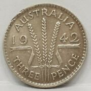 Australia 1942 M . Threepence . Melbourne . Key Date . Hard To Find