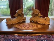 Antique Chinese Hand Carved Foo Dogs