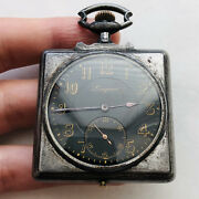 Rare Wwi Square Pocket Watch Longines Black Military Old Vtg Antique Classic