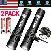 2 Pack 90000lm Flashlight 3modes Rechargeable Usb T6 Led Tactical Zoomable Torch