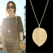 Cheap Costume Shiny Jewelry Gold Leaf Design Pendant Necklace Long Sweater Y Oq