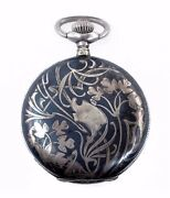 Antique Henry Moser And Cie Art Nouveau Silver Niello Pocket Watch Vintage 1890and039s