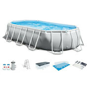 Intex 16.5ft X 9ft 48in Prism Frame Oval Above Ground Swimming Pool Kit And Canopy