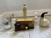 Vintage Avon Perfume Bottle Lot Of 6 Milk Glass Cologne Pipe Poodle Clock Bell