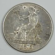 1875-s Trade Dollar Almost Uncirculated Silver Dollar Chopmarked