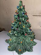 Vintage 70's Ceramic Green Christmas Tree 2 Piece Lights Up. 24 Inches Overall