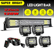 20/22inch Led Light Bar Spot Flood Combo + 4 Pods Offroad For Jeep Truck Suv