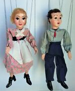 Hazelle's Marionette Jack And Jill, Hard Plastic Pair, Good Condition