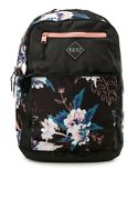 Roxy Black Floral Fitness Here You Are Backpack New Laptop Pocket Recycled
