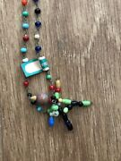 Vintage Original Dime Store Beaded Stick Figure Toy Childs Necklace W Tag Japan