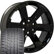 22x9 Fit Gmc Chevy Black Rally Style Ck162 22 Rims W/gy Tires Oew