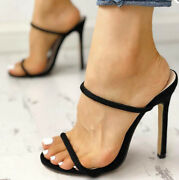 Sexy Womens High Heel Slippers Slip On Stilettos Strap Sandals Shoes Mules Party