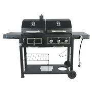 Outdoor Portable Dual Fuel Gas And Charcoal Combo Grill, Black With Stainless New