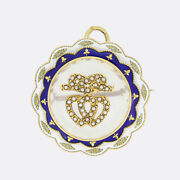 Victorian Rock Crystal Pearl And Enamel Double Heart Brooch Pendant 18ct Gold