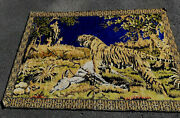 Vintage Large Wall Hanging Tapestry With Tiger Hunters Elephant Antelope 48x69