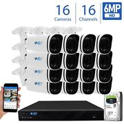 16 Channel Nvr 16 X 6mp Poe Outdoor Varifocal Microphone Security Camera System