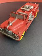 Vintage Toys. 1960's Auburn Red Rubber Fire Truck Vehicle Made In Usa A119