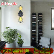 2-heads Industrial Hollow Wall Sconce Lighting Indoor Light Lamp E26