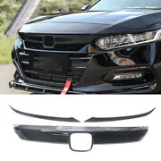 For 2018-2020 Accord Front Grill Moulding Trim + Eyelid Cover Carbon Fiber Look