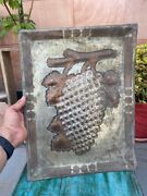 Antique Old Original Brass And Bronze Hand Embossed Grapes Design Serving Tray