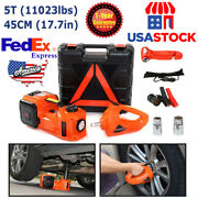 5 Ton Car Electric Hydraulic Floor Jack And Impact Wrench Set 12v 5t Jack Lift Usa