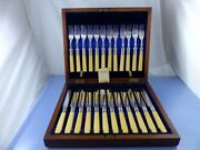 Bovine Bone Handle And Sterling Collars Set 12 Place Cased By R.f. Mosley And Co