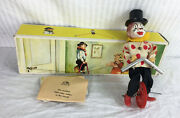 Vintage 50s Feco Tin Toy Clown Tightrope Walker High Wire W Box