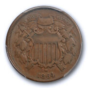 1864 2c Small Motto Two Cent Piece Pcgs Vf 20 Very Fine Key Variety Coin Nice