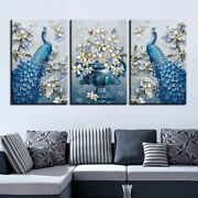 Modern Canvas Wall Art 3 Pieces Peacock Flowers Butterflies Hd Prints Pictures