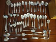 Vintage Flatware Silverware Lot Mixed Silverplate Stainless A 48 Pieces