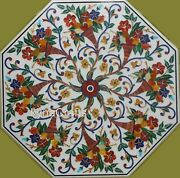 Pietra Dura Art Dining Table Top Octagon Marble Office Meeting Table 42 Inches