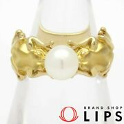 Calette Carrya Frog Motif Pearl Ring P About 6.5mm 12 K18yg Yellow Gold