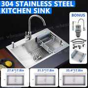 Top Mount Stainless Steel Kitchen Sink 3 Hole Handmade With Drain Soap Dispener