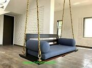 Wooden Ceiling Swing With Brass Chain Garden Swing With Metal Chain Wood Swing
