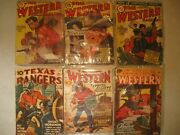 6 1940's Western Magazines, Texas Ranger, Thrilling Western Collectibles