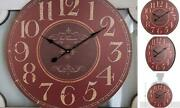 Large Decorative Wooden Wall Clock 24 Inch Silent Non-ticking Battery Vintage