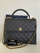 Vintage Kelly Classic Top Handle Flap Bag Quilted Caviar Jumbo W/strap