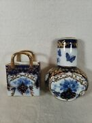 Lot Of 3 Limoges Colbalt Blue And Gold Decanter Bottle Glass And Vase