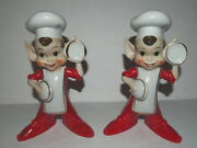 Vtg Japan 2 Pixie Elf Chef Cooking Figurines Pixieware Larger Size 6.5 Tall